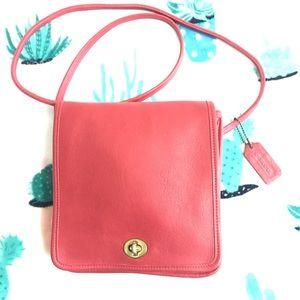 Vintage COACH Leather Red Satchel Shoulder Purse